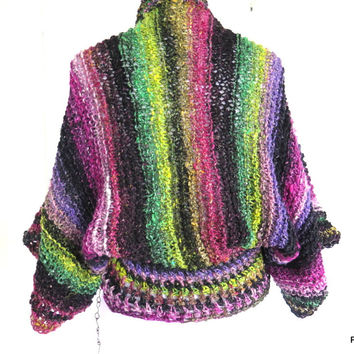 Over Sized Shrug, Trendy Layering Sweater Hand Knit Gift for Her