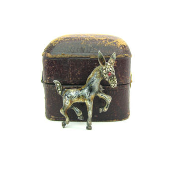 Baby Mule Animal Brooch. Enamel Sterling Silver. Small Figural Foal Pin. Rhinestone, Marcasites. Made In Germany. Vintage 1960s Jewelry