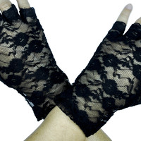 Black Rose Lace Fingerless Gloves Gothic Lolita Clothing