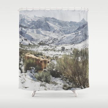 Wild cow at the mountains. Snowing. Shower Curtain by Guido Montañés