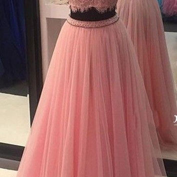 High Neck Lace Pink Prom Dresses