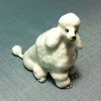 Miniature Ceramic Poodle Dog Sitting Animal Cute Little Funny Tiny Small White Figurine Statue Decoration Collectible Hand Painted Craft