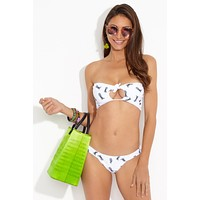 Lauryn Front Knot Cut Out Bandeau Bikini Top - White Pineapple Print