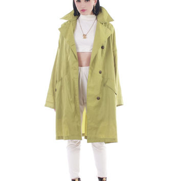 Iridescent Green Mycra Pac Raincoat Shiny Nylon Oversized Lightweight Winter Jacket Minimalist Retro Plus Size Clothing Women Size 2X 3X