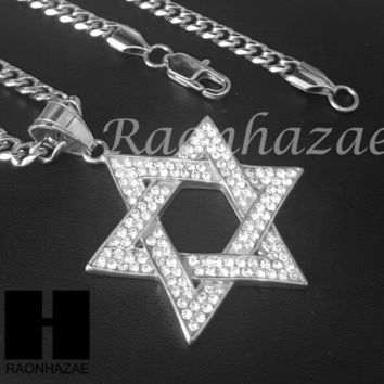 Iced Out 316L Stainless steel Silver 6 Point Star Pendant Miami Cuban SS034