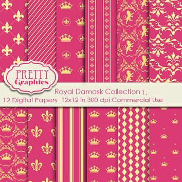 ROYAL DAMASKCOLLECTION 1. - Printable Papers - Commercial Use - 12x12 JPG Files - Scrapbook Papers - High Quality 300 dpi