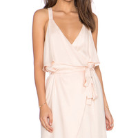 x REVOLVE Ruffle Front Wrap Dress in Blush
