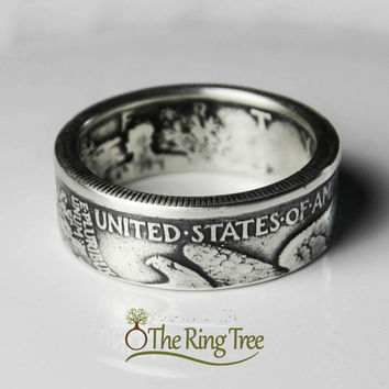 Walking Liberty Half Coin Ring (Tails out) - Silver (.900)
