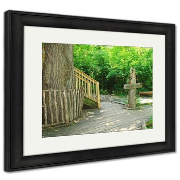 Framed Print, Sign And Steps To Toms Treehouse In Fontenelle Forest