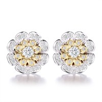 Gold Plated Silver Flower Cluster Removable Jackets Stud Earrings Hypoallergenic CZ Pave Earring for Girl