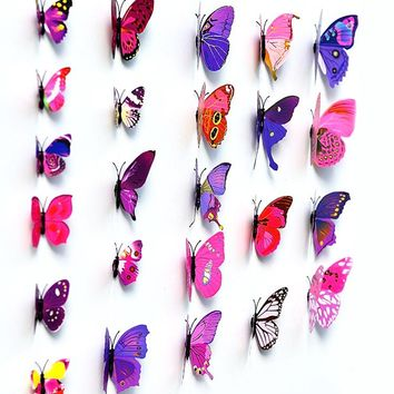 12Pcs/Lot 3D DIY Wall Sticker Stickers colorful vivid Butterfly Home Decor For Fridge Kitchen Living Room home Decoration