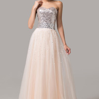 Sequined Sweetheart Off-Shoulder  Maxi Prom Dress