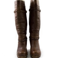Ugg Brown Tall Leather Boots with Braid Details and Wool Lining