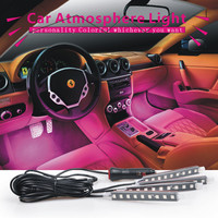 4x 3LED Car Charge 12V Glow Interior Decorative 4in1 Atmosphere Blue Light Lamp Atmosphere inside foot lamp