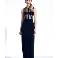 Mignon VM1487 Sexy Black Sheer Illusion Dress 2015 Prom Dresses