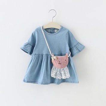 2016 heat newborn baby dress 100% cotton material girl dress princess dress + bags 2 sets girls clothing Pleated free shipping