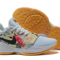 [Free Shipping ]Nike Basketball Paul George 1 PG1 Flower Colorful Basketball Sneaker