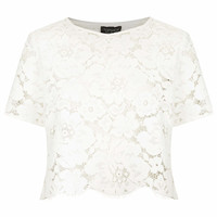 Scallop Lace Crop Tee