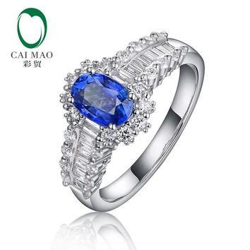 Caimao Natural Blue Sapphire with 0.68ct G SI Diamonds Engagement for Unisex 18k White Gold Ring
