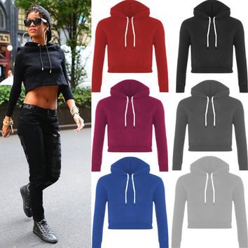 Womens Casual Sport Crop Top Hoodie