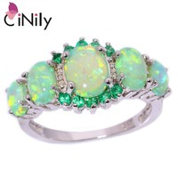 Created Green Fire Opal Crystal Silver Plated Ring Jewelry Ring Size 5-12