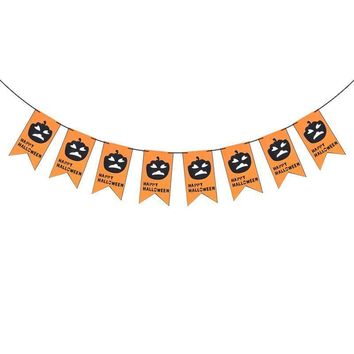 Happy Halloween Party Decoration Banners 2.5M Dual-layer Non-woven Fabric Pumpkin Bunting Banner for Home Haunt House Ornaments