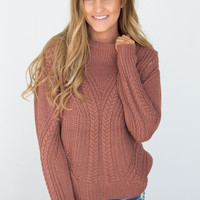 Long Sleeve Cable Knit Sweater - Brick
