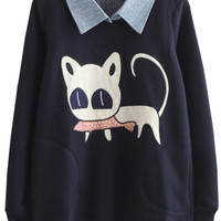 Cat Printed Lapel Long Sleeve Sweatshirt