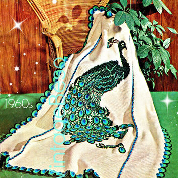 THE PEACOCK Afghan Crochet Pattern Instant Digital PDF 60s Vintage Crochet Pattern basic afghan stitch then embroidered bird fowl fiber art