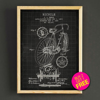 Bicycle Patent Print Bike Blueprint Poster House Wear Wall Art Decor Gift Linen Print - Buy 2 Get FREE - 292s2g