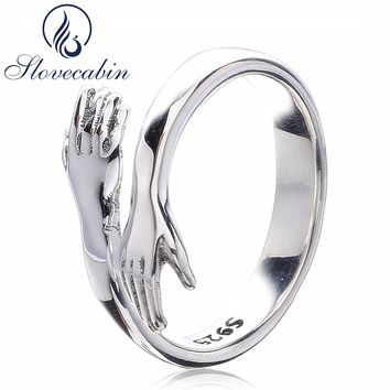 Slovecabin Original 925 Sterling Silver Party Rings Give Me A Hug Adjustable Lord Of The Wedding Rings Female For Lover Couple