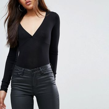ASOS TALL Body With Plunge Neck Long Sleeve and Thong at asos.com