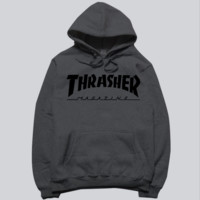"""Thrasher"" skateboard fleece male add wool cotton hoodie flame Dark grey"