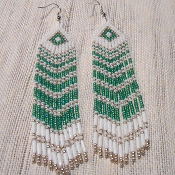 Native American Inspired Chevron Beadwork, Beaded Earrings, Long Green Beaded Earrings, Hand Beaded Jewelry