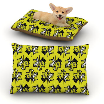 """Julia Grifol """"Green Tree Leaves"""" Yellow Dog Bed"""