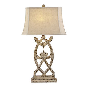 Bassett Mirror Lamps Consuela Table Lamp in Distressed Parchment
