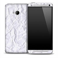 Crumpled White Paper Skin for the HTC One Phone
