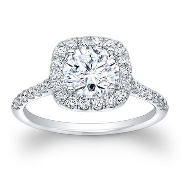 Ladies 14kt white gold cushion top diamond ring 0.50 ctw G-VS2 diamonds w/1.50ct natural Round White Sapphire ctr