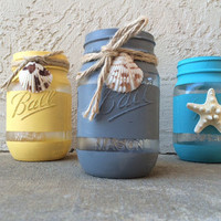 Modern Hand Painted Mason Jars - Beach Themed Yellow Turquoise Grey Jars with Seashells