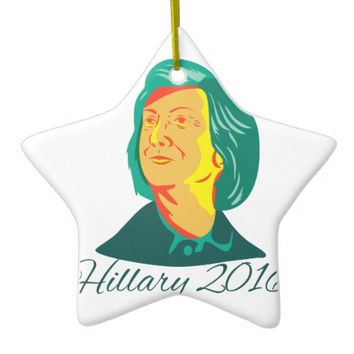 Hillary Clinton 2016 President Democrat Retro Ceramic Ornament