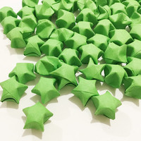 Origami Lucky Stars | Plain Green Paper Stars | Handmade Wishing Star | Craft Party Wedding Thanksgiving Christmas Decoration Confetti
