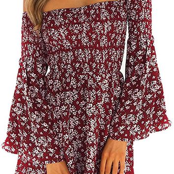 Pirates Cove Red Floral Pattern Long Bell Sleeve Smocked Off The Shoulder Casual Mini Dress