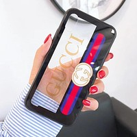 GUCCI Popular Women Men Delicate Transparent Glass Graffiti Letters Pattern Cellphone Case For iphone 6 6s 6plus 6s-plus 7 7plus iphone 8 iphone X Protective Shell Black I12715-1