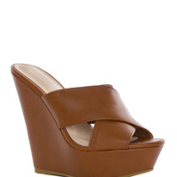 Kriss Wedge - Tan