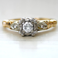 Vintage Art Nouveau Three Stone Diamond Engagement Anniversary Ring 14kt Yellow Gold with High Quality VS Diamonds