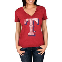 Women's Texas Rangers V-Neck Short Sleeve Tee (XL)