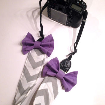 DSLR Camera Strap Cover, Canon and Nikon Compatible Gray & White Chevron with Purple Bow