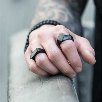 Classic Stainless Steel Black Square Men Ring Rock Vintage Silver-color Men Jewelry Hip Hop Punk Man Finger Rings anel masculino