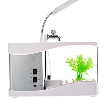 Creative multi-function USB mini aquarium fish tank LED lamp Pen small goldfish bowl White