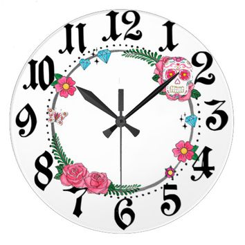 Sugar Skull Wreath Wall Clock